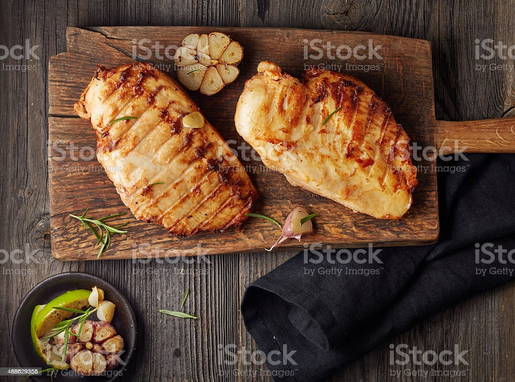 Grilled chicken fillet stock photo