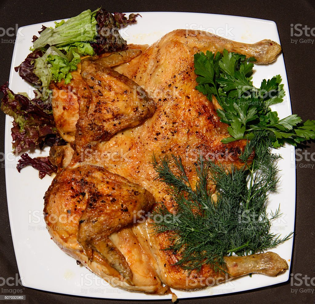 Grilled chicken fried tobacco carcass stock photo
