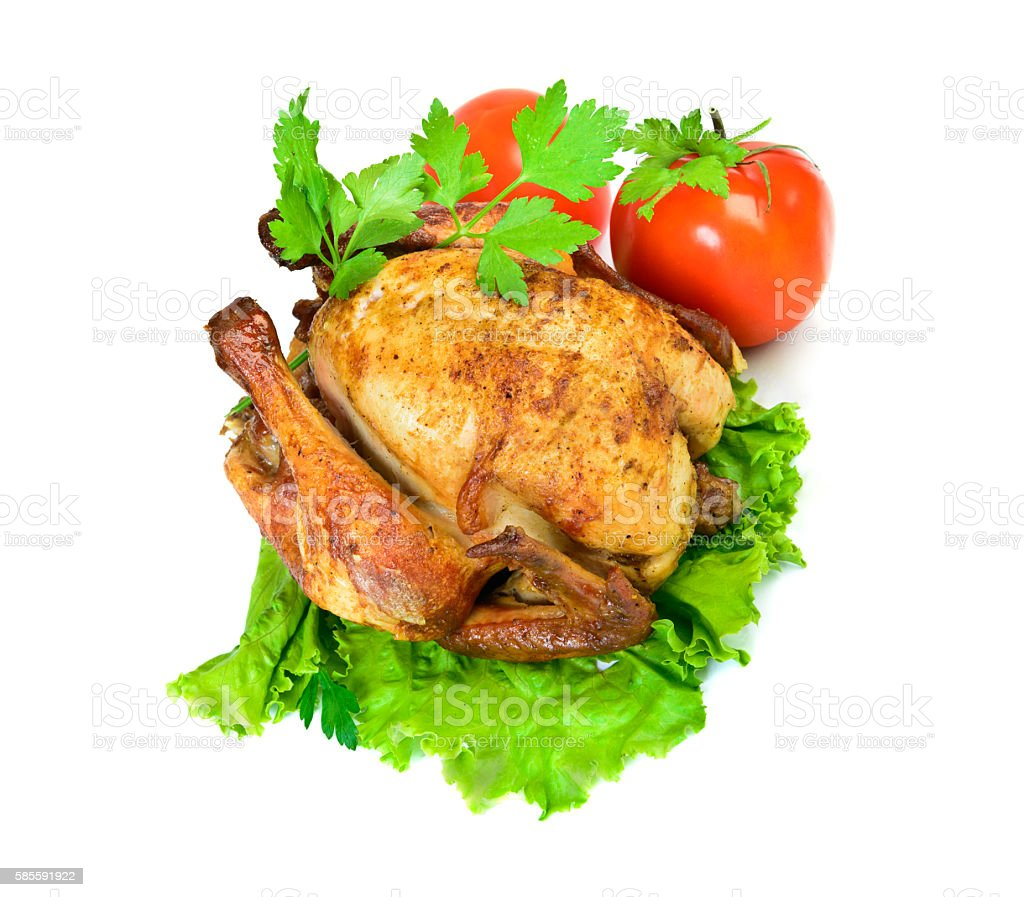 Grilled chicken isolated Top view stock photo
