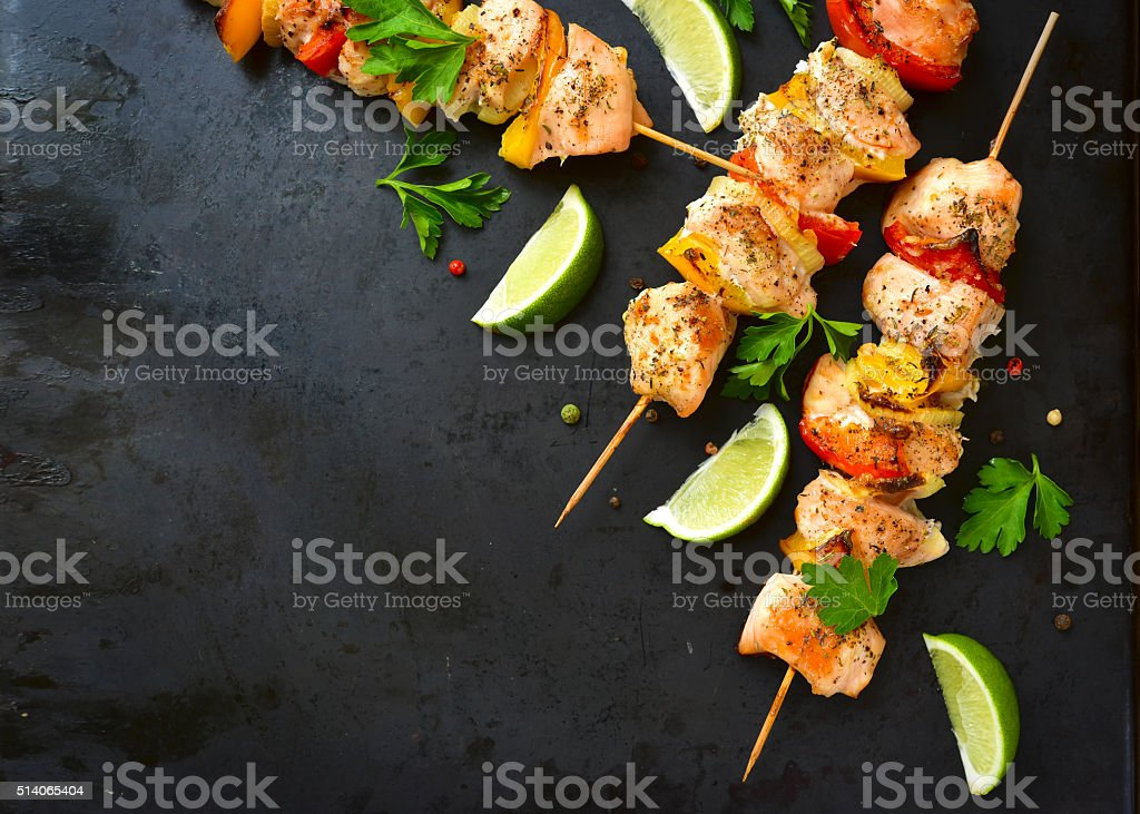 Grilled chicken kebab. stock photo