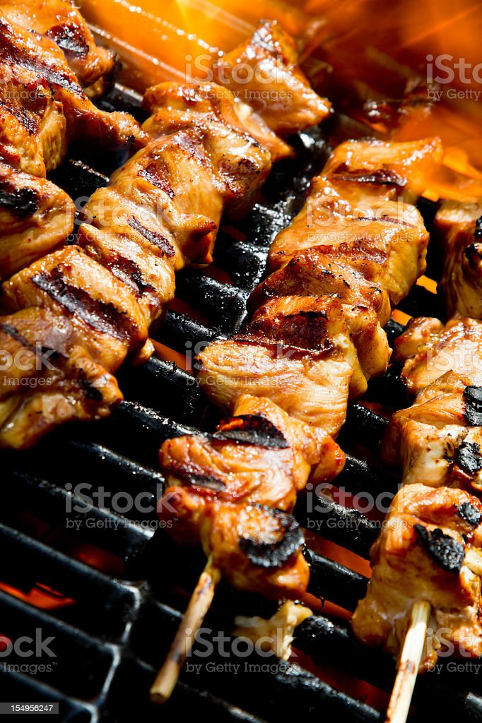 Grilled Chicken Kebabs on the Grill stock photo