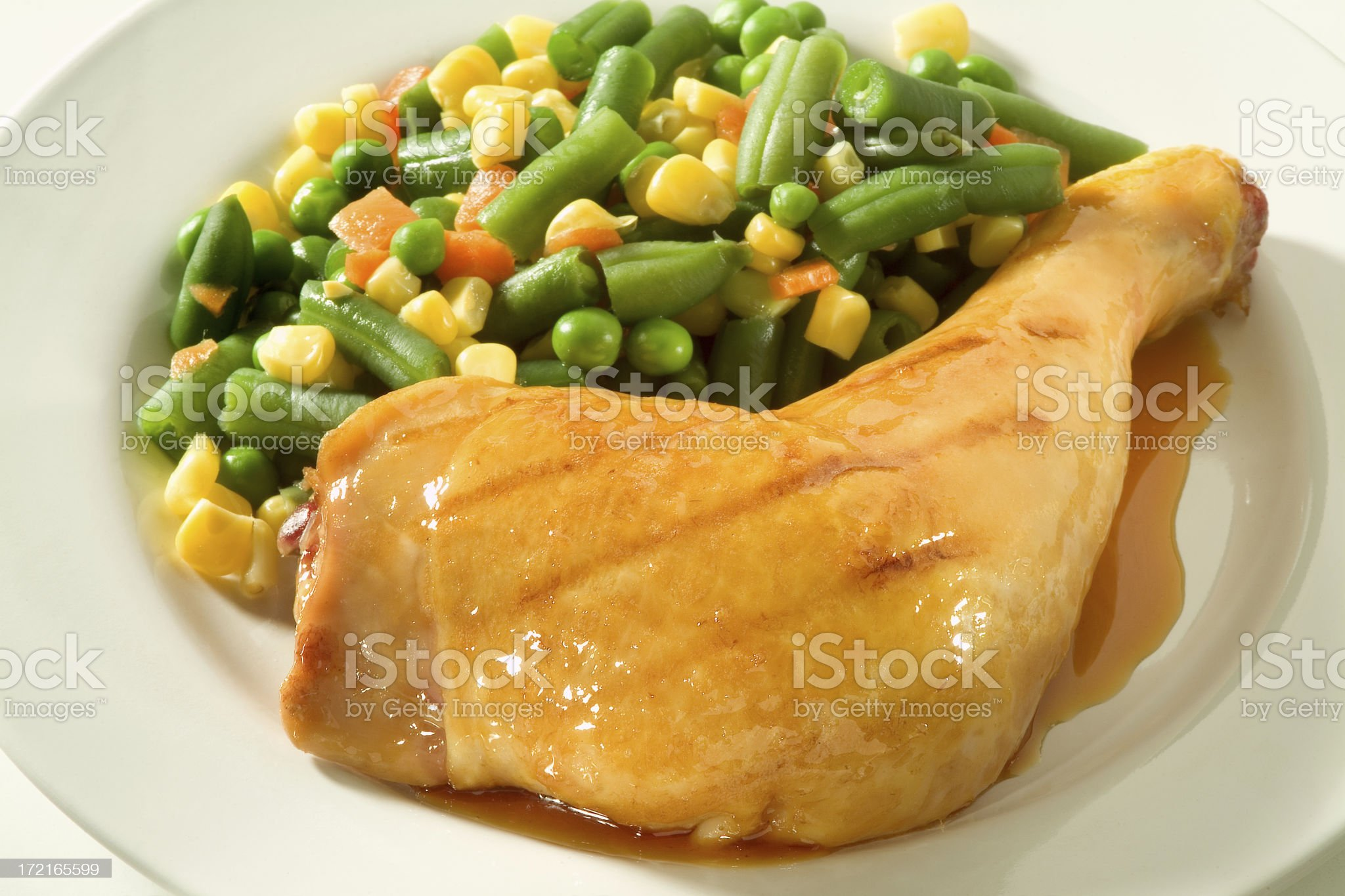 Grilled chicken leg with vegetables royalty-free stock photo