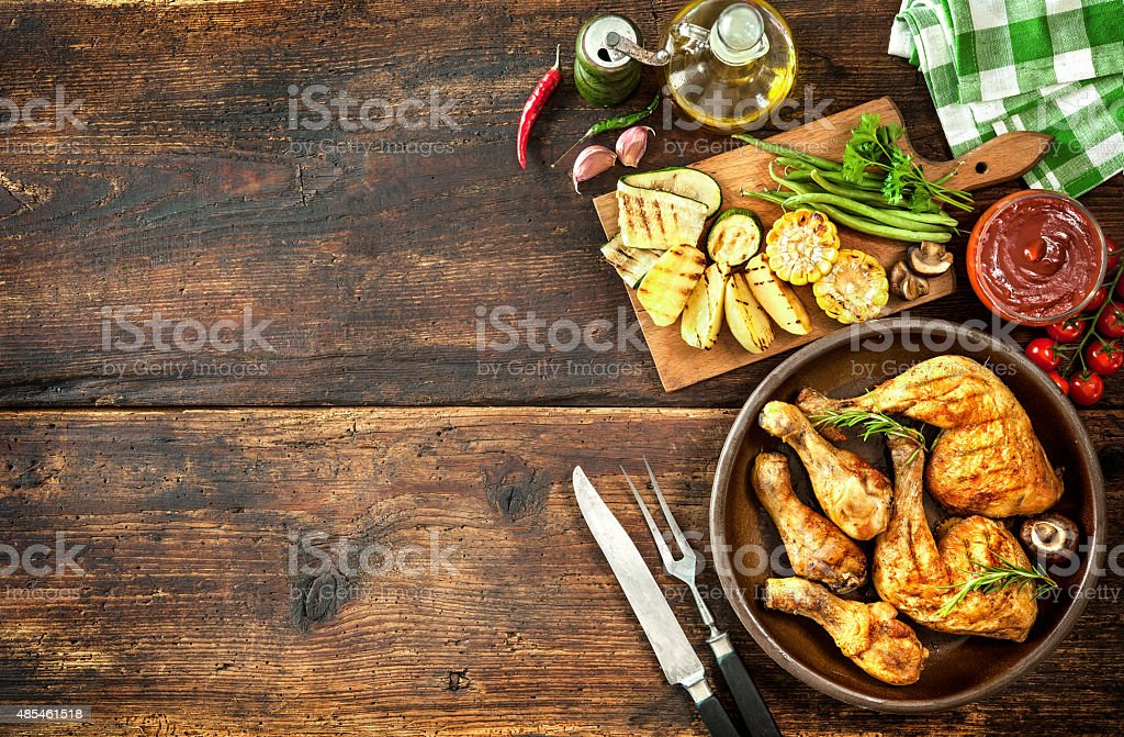 Grilled chicken legs stock photo