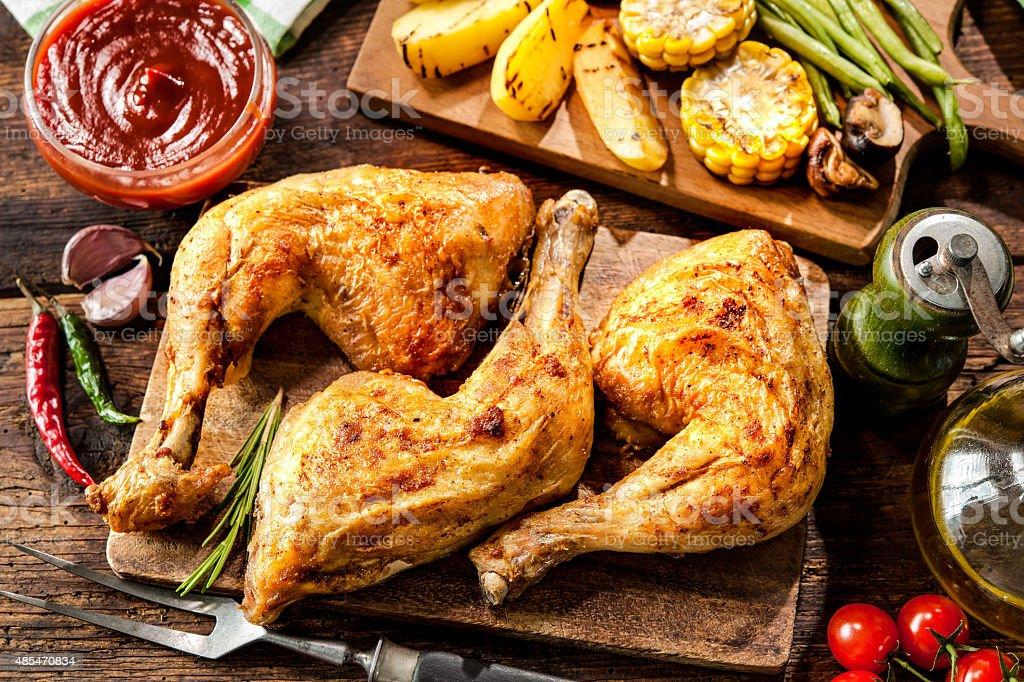 Grilled chicken legs stock photo