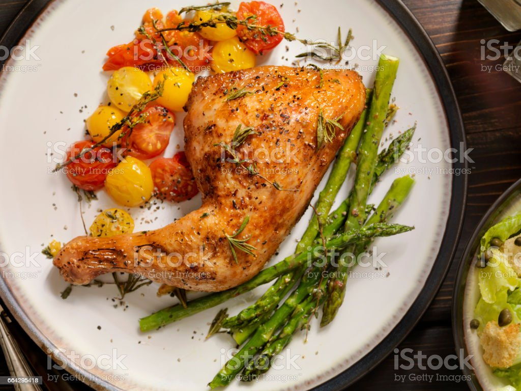 Grilled Chicken Legs With Vegetables stock photo