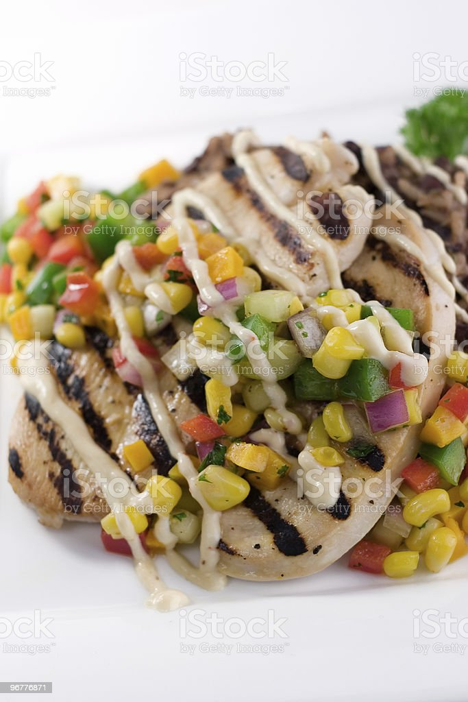 Grilled Chicken & Mango Corn Relish stock photo