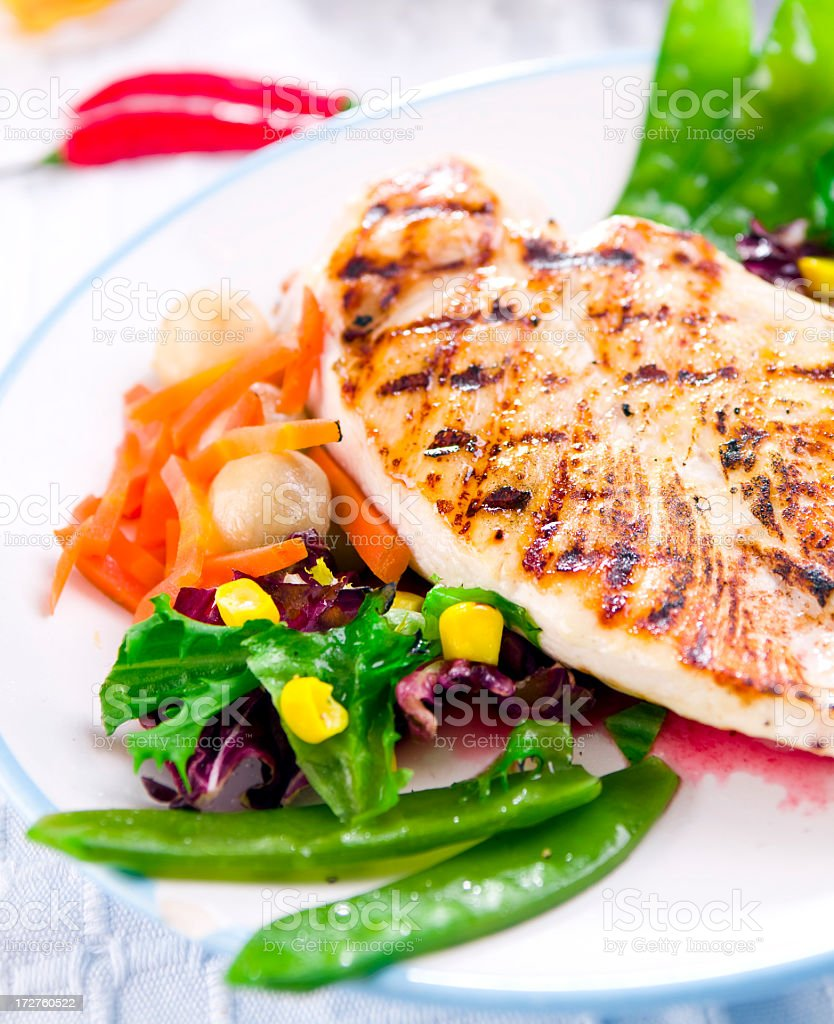 grilled chicken meal royalty-free stock photo