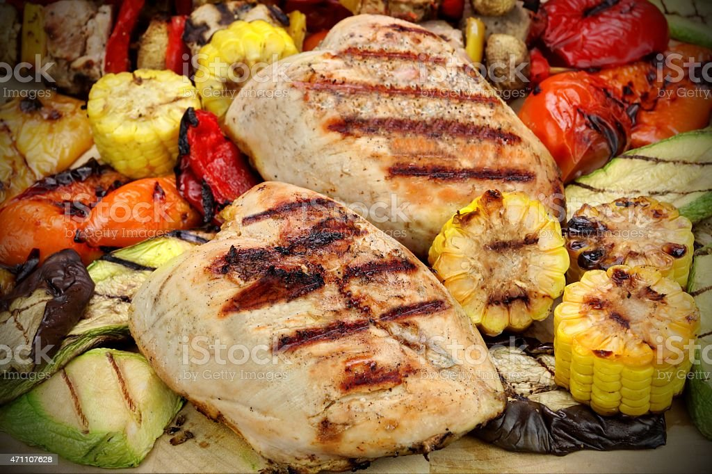 Grilled Chicken Meat And Vegetables stock photo