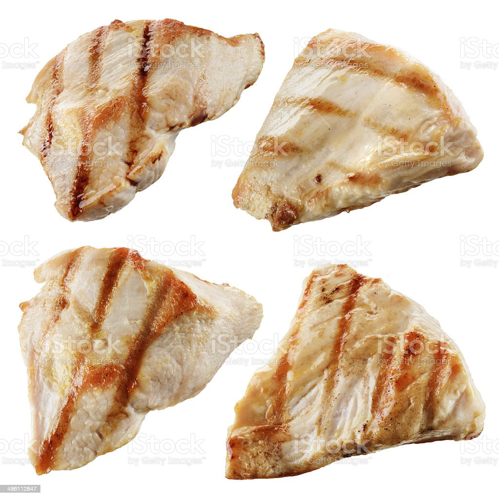 Grilled chicken meat pieces isolated on white. Collection stock photo