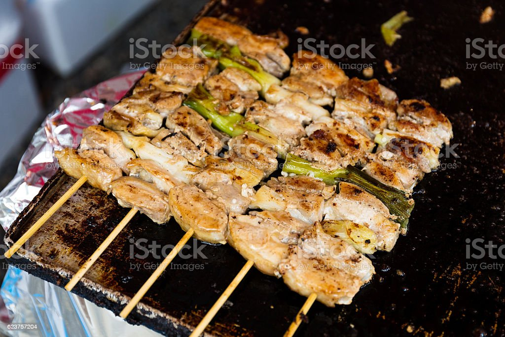 Grilled chicken meat skewers stock photo