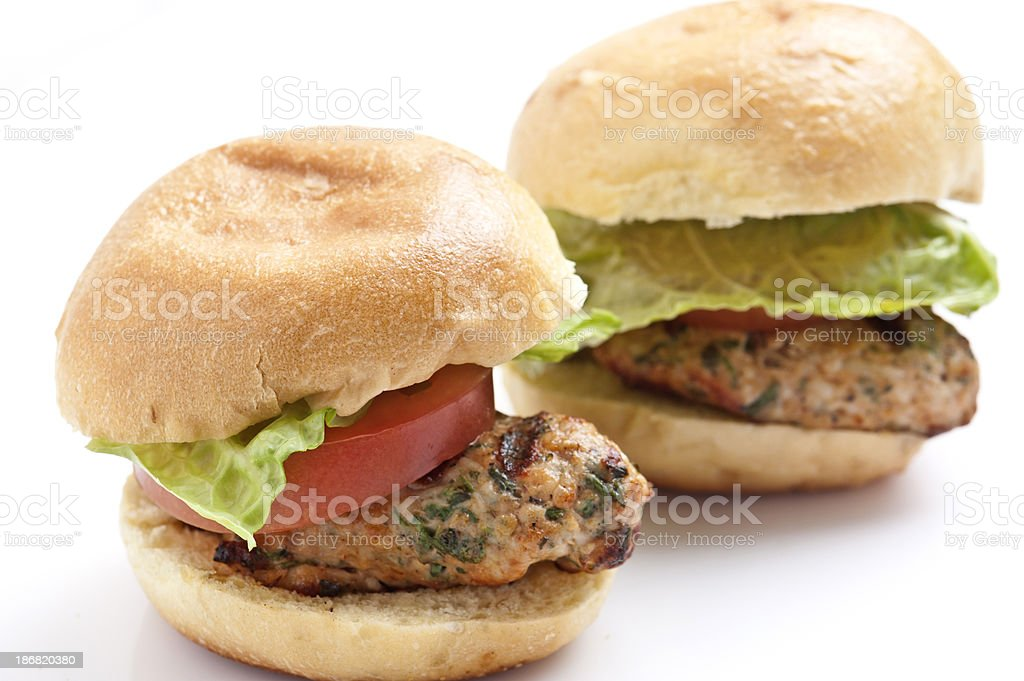Grilled chicken mini burgers stock photo