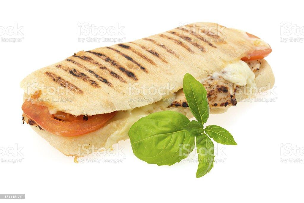 Grilled chicken Panini sandwich stock photo