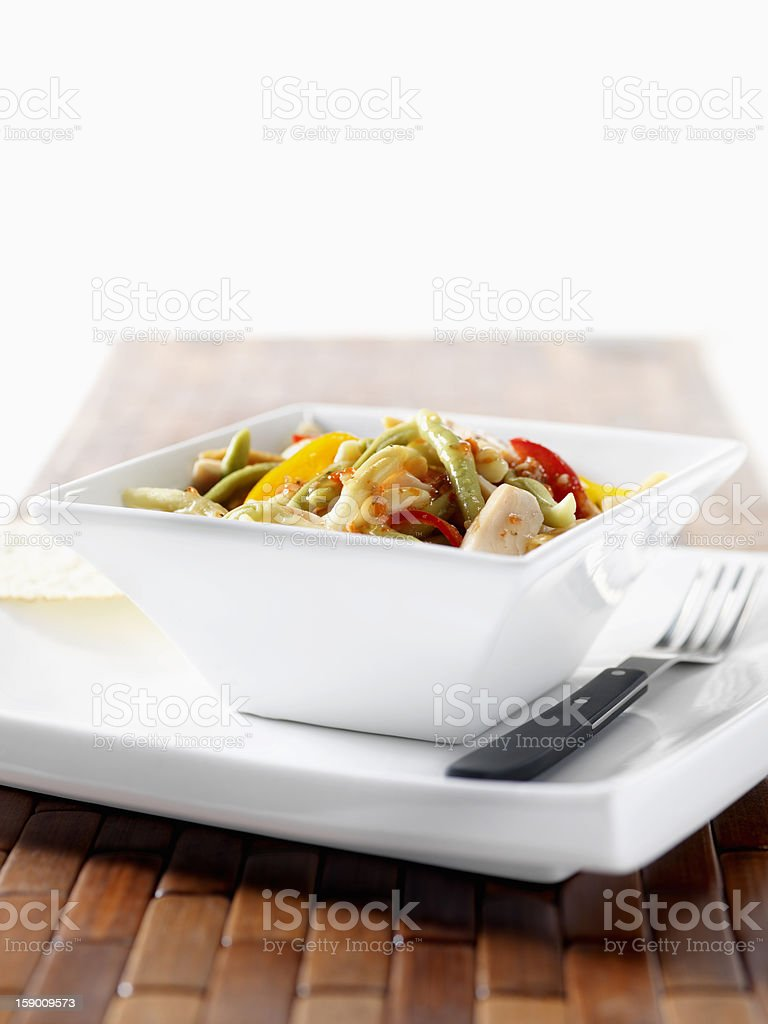 Grilled Chicken Pasta with Peppers royalty-free stock photo