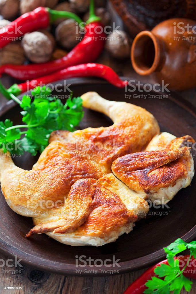 Grilled chicken (Tabaka) stock photo