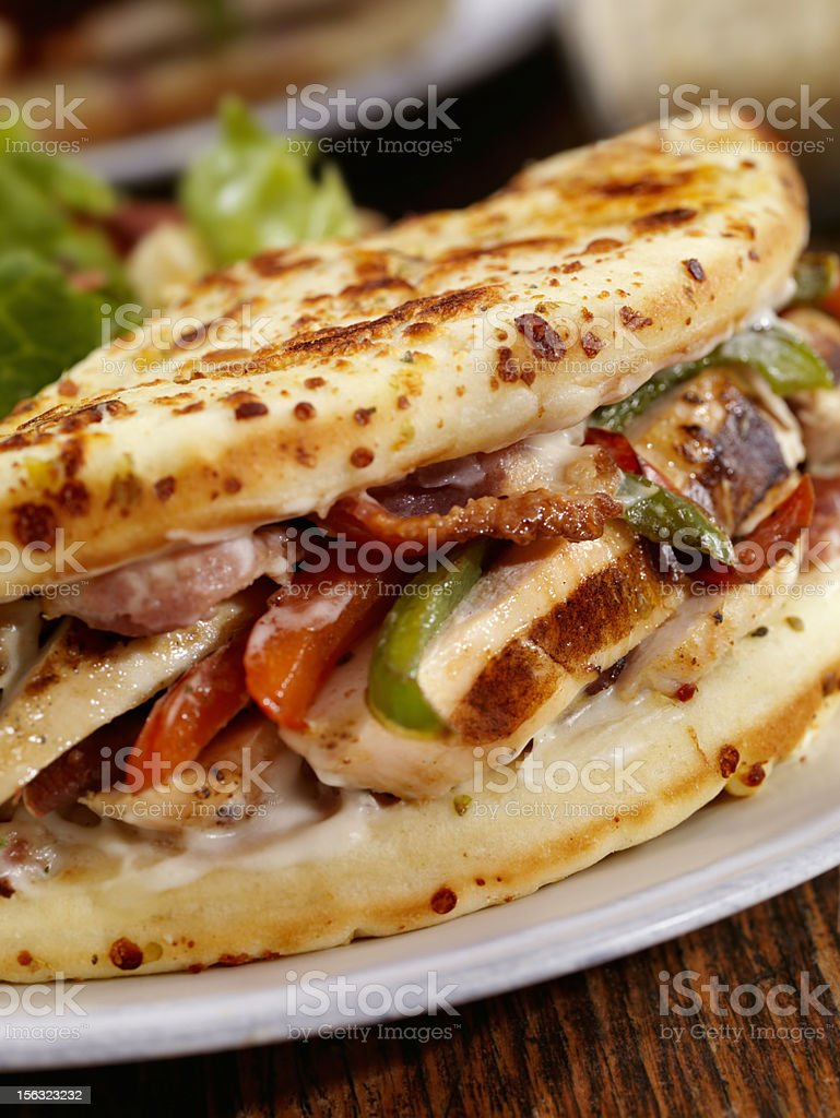 Grilled Chicken Ranch IItalian Fatbread Sandwich royalty-free stock photo