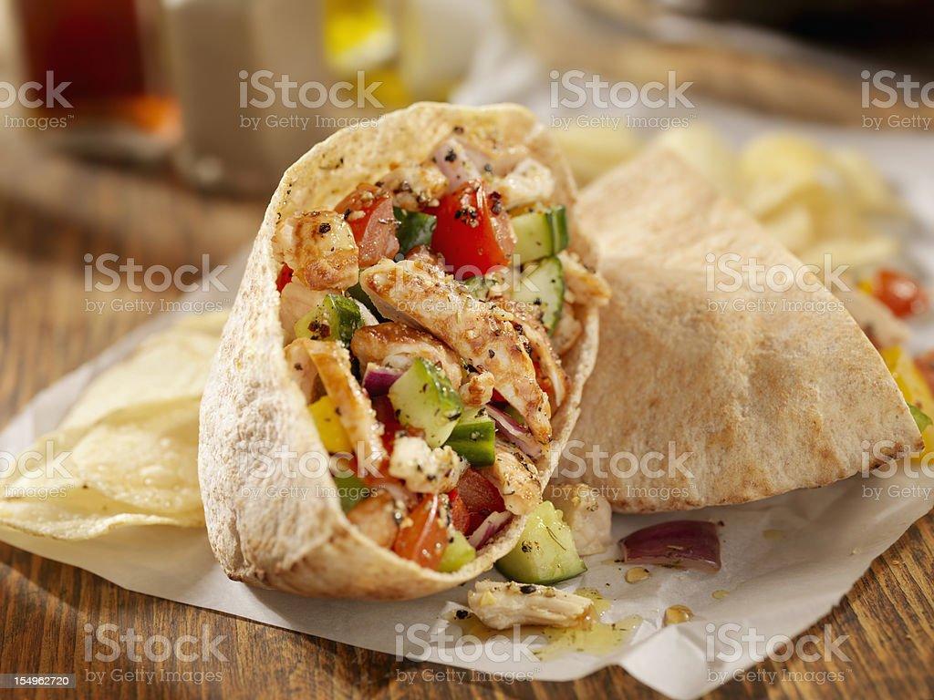 Grilled Chicken Salad Pita Sandwich royalty-free stock photo