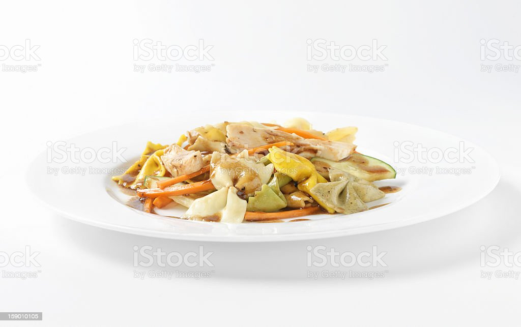 Grilled Chicken Salad with Bow Tie Pasta royalty-free stock photo