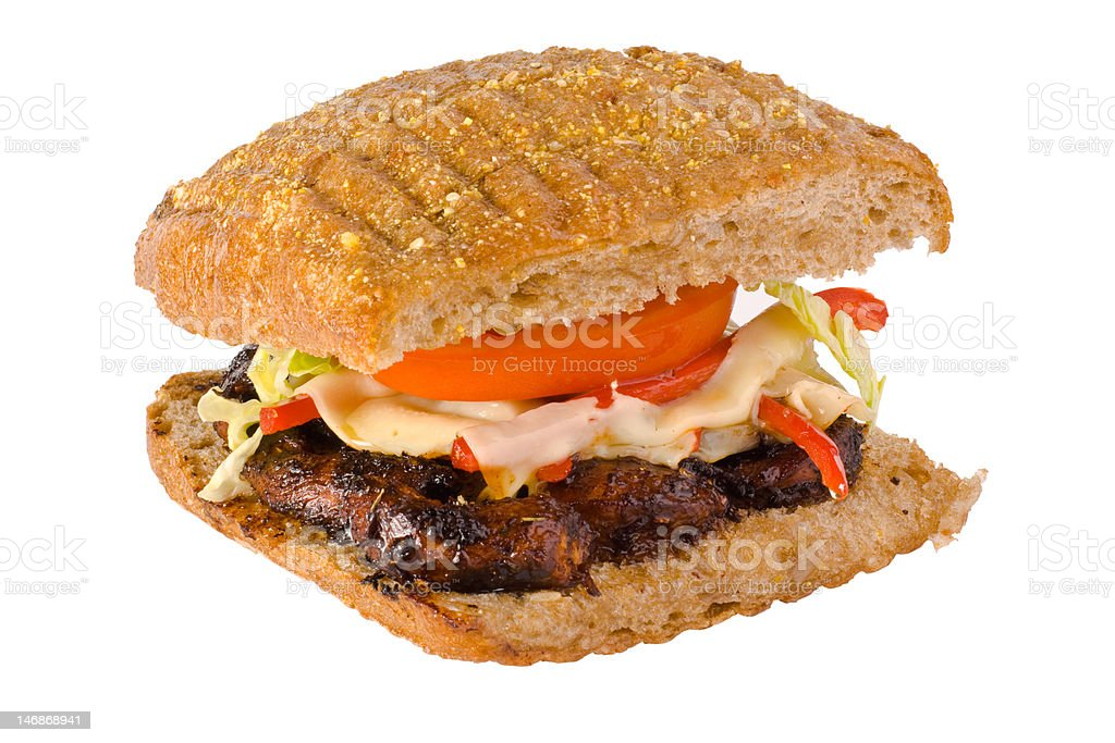 grilled chicken sandwich with clipping path royalty-free stock photo