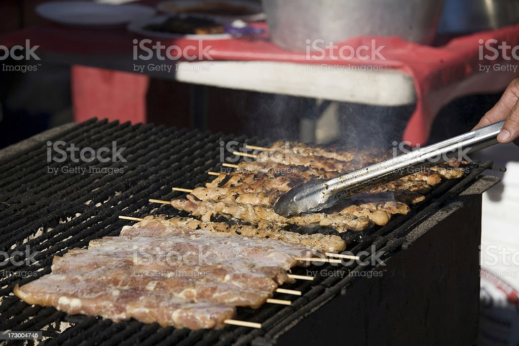 Grilled Chicken Satay Skewers royalty-free stock photo