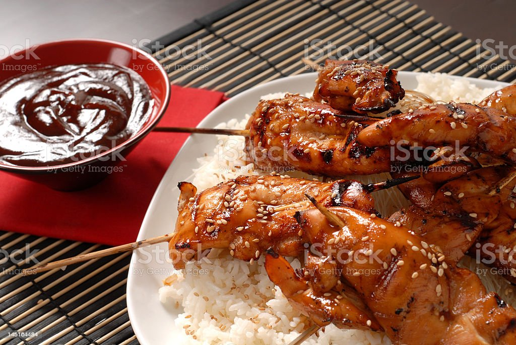 Grilled chicken satay with rice stock photo