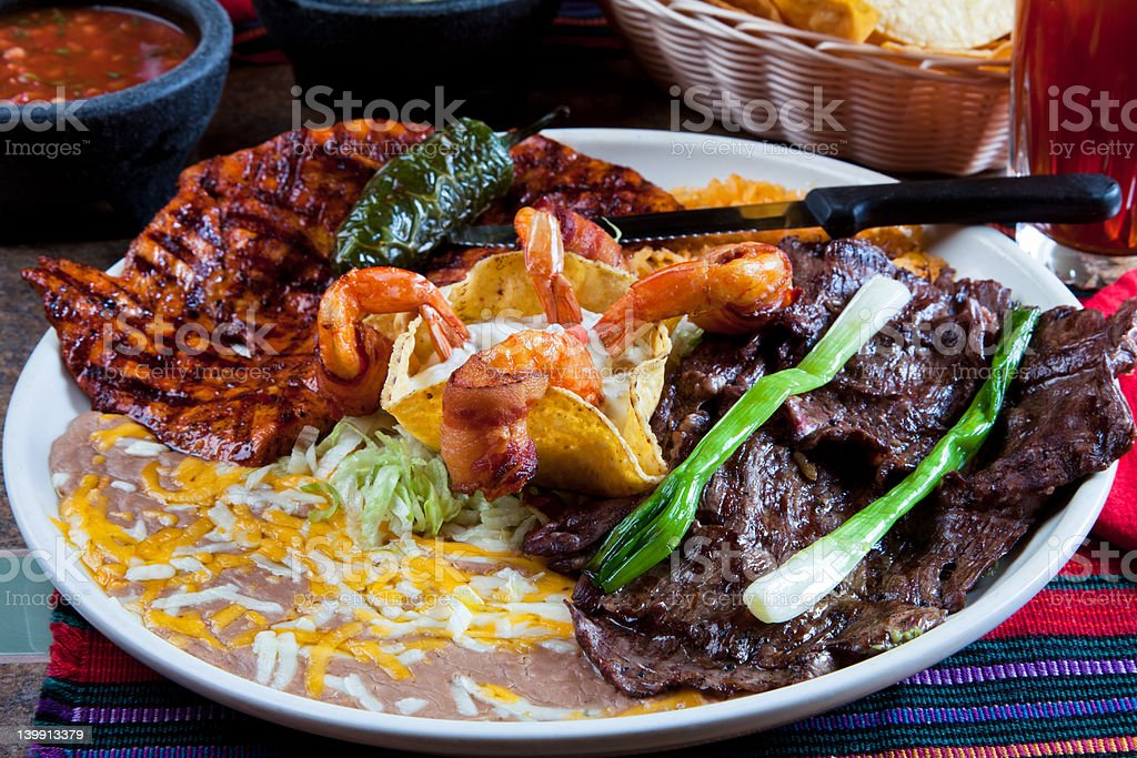 Grilled Chicken, Shrimp and Skirt Steak royalty-free stock photo