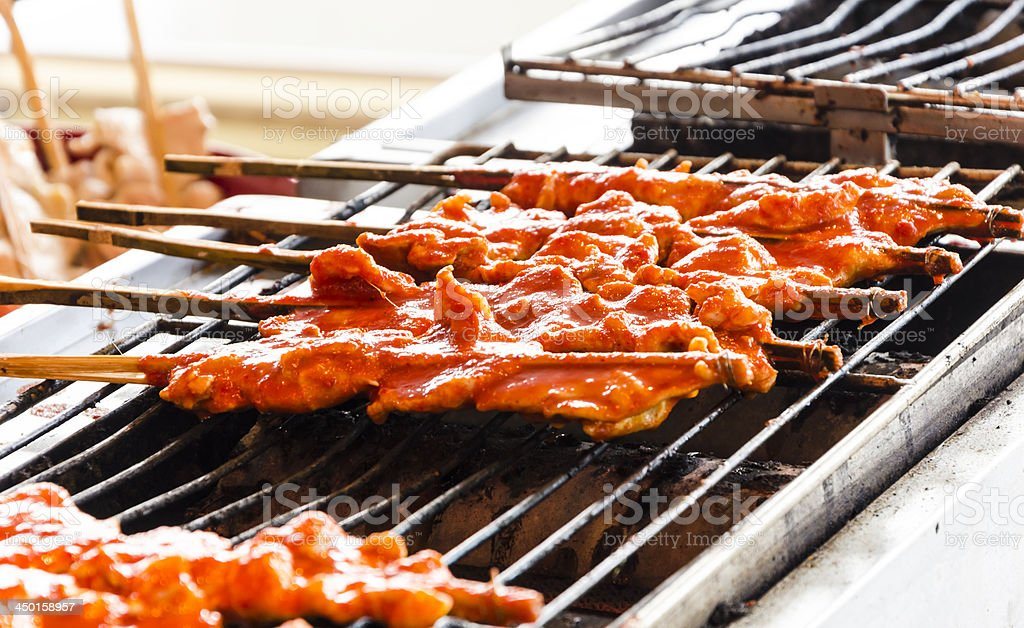 Grilled chicken skewer royalty-free stock photo