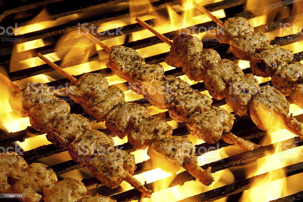 Grilled chicken skewers stock photo