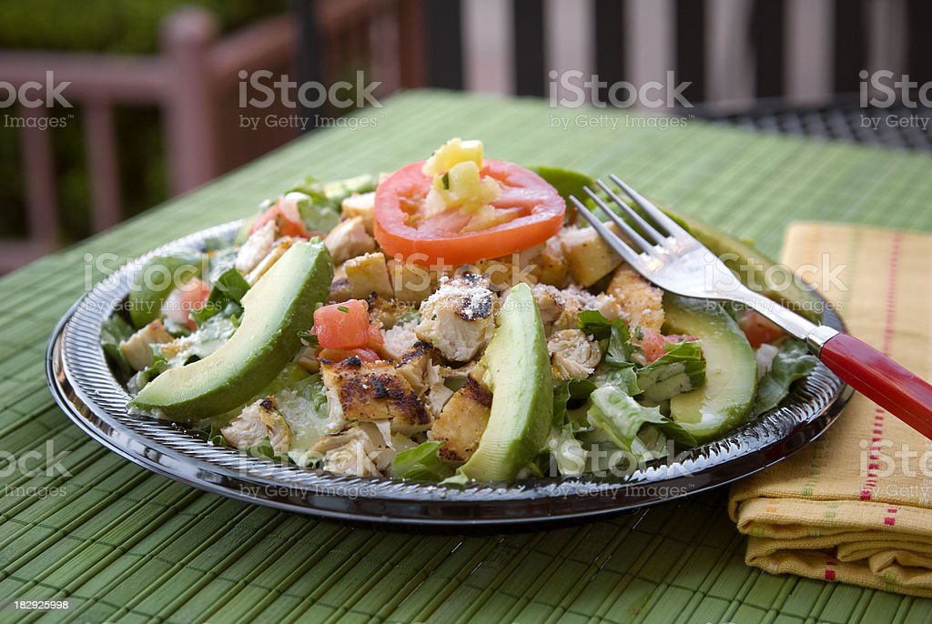 Grilled Chicken, Tomato Salsa & Avocado Salad: Healthy Takeout Restaurant Food royalty-free stock photo