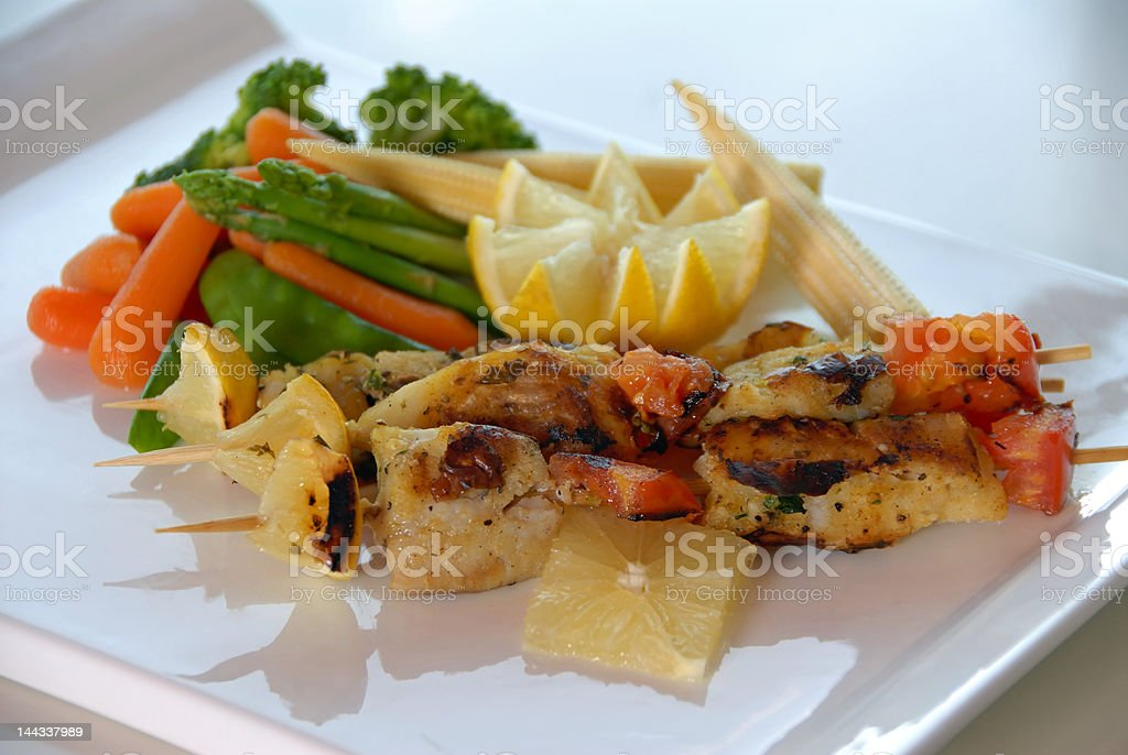 Grilled Chicken & Vegetables royalty-free stock photo