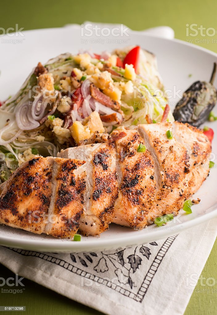 Grilled Chicken Wedge Salad stock photo