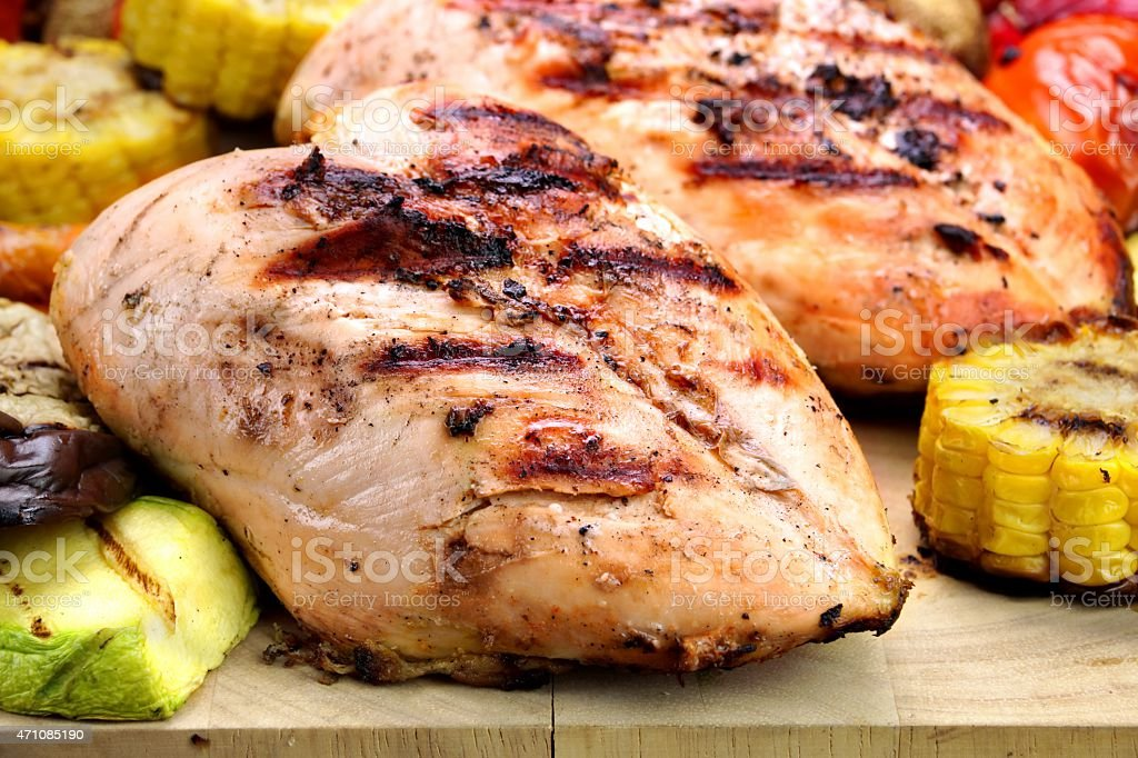 Grilled Chicken White Meat And Vegetables Close-Up stock photo