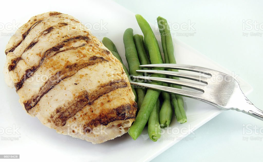 Grilled Chicken with Green Beans royalty-free stock photo