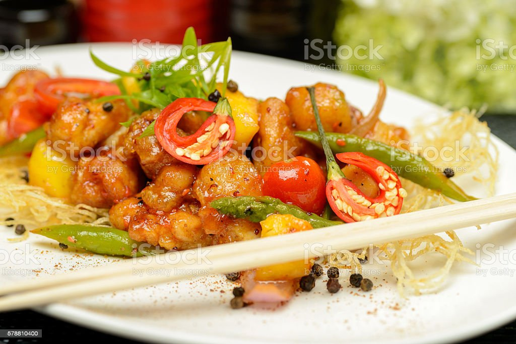 Grilled Chicken with pineapple stock photo