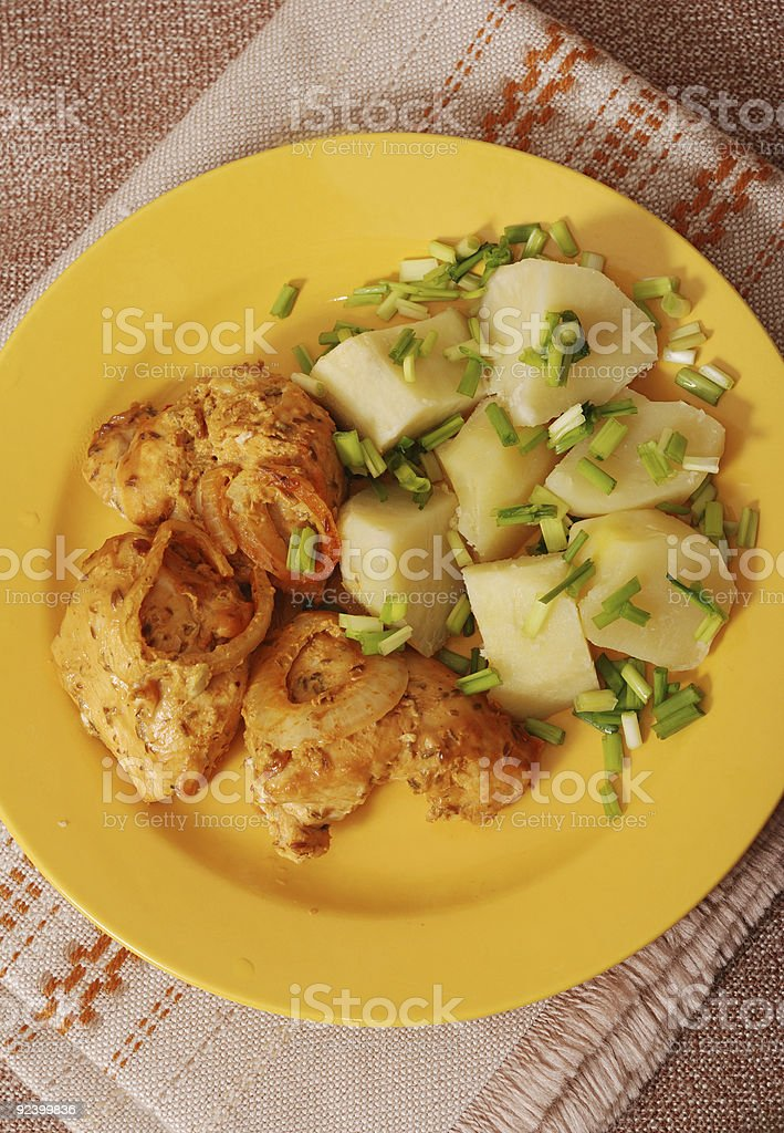 Grilled chicken with potatoes royalty-free stock photo