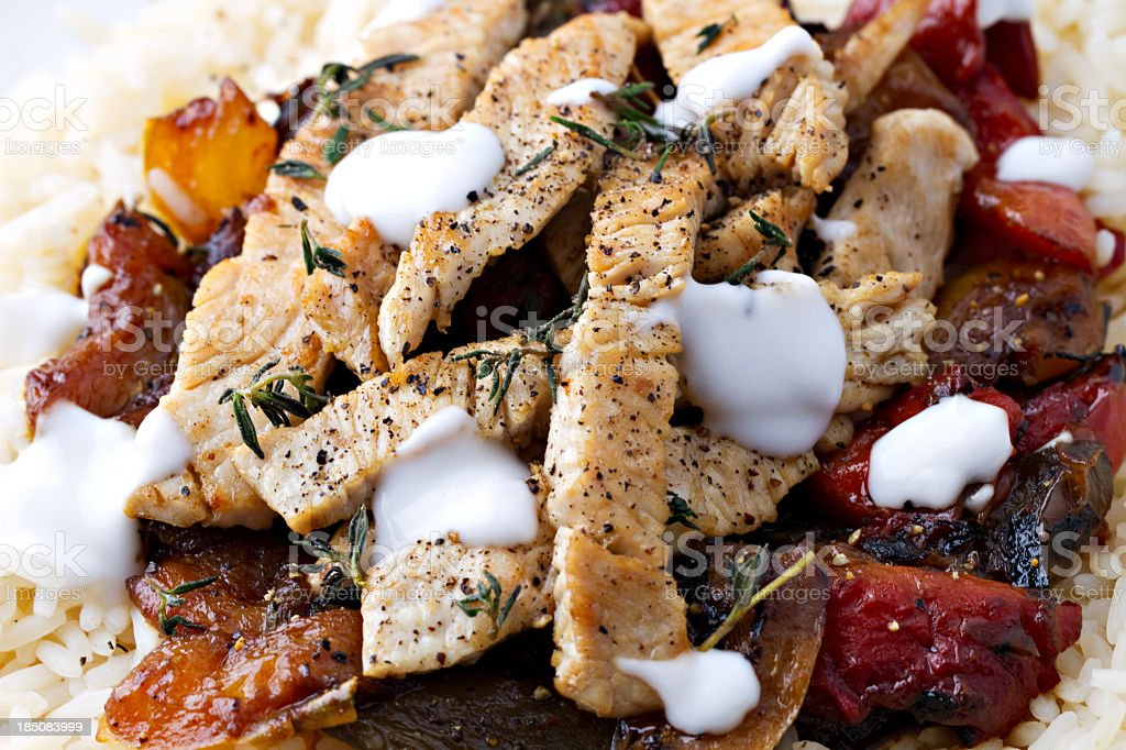 Grilled chicken with rice and vegetables royalty-free stock photo