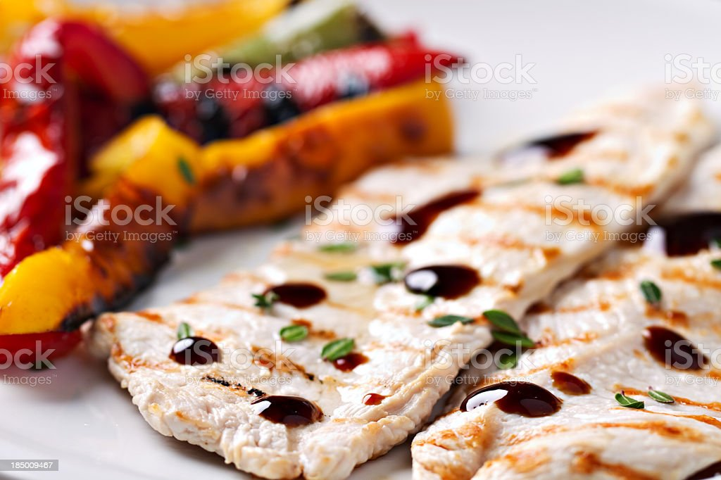 Grilled chicken with roasted vegetables royalty-free stock photo