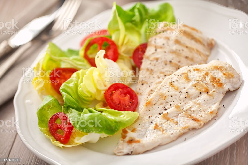 Grilled chicken with salad royalty-free stock photo