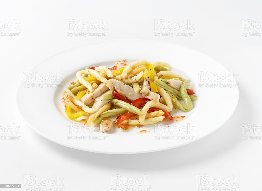 Grilled Chicken with Tricolor Fusilli Pasta royalty-free stock photo
