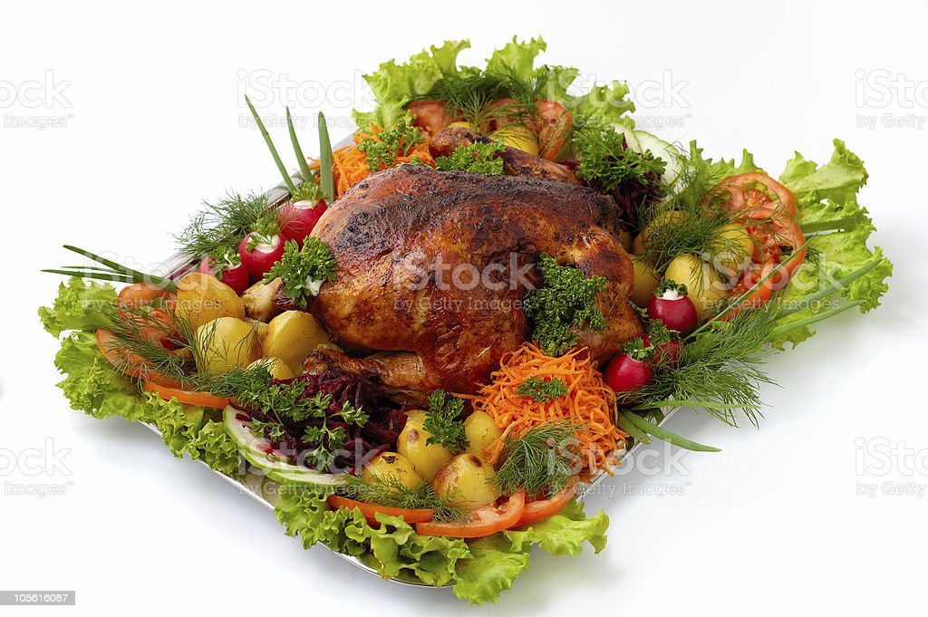 Grilled chicken with vegetables on a tray isolated dish royalty-free stock photo