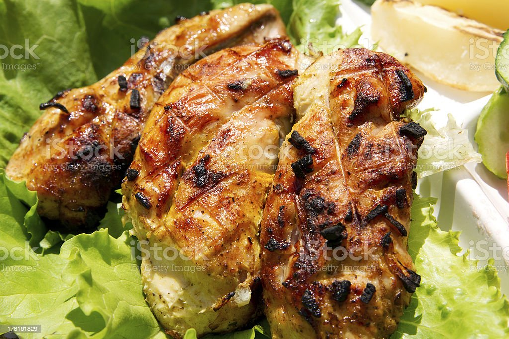 Grilled chicken with vegetables royalty-free stock photo