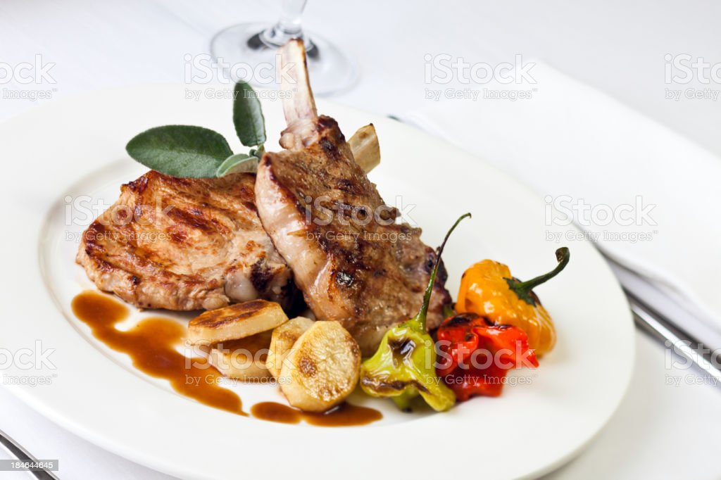 Grilled chops stock photo