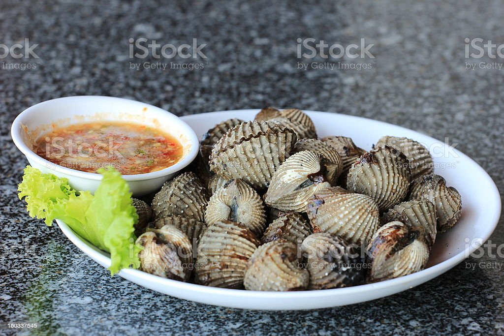 Grilled Cockle royalty-free stock photo