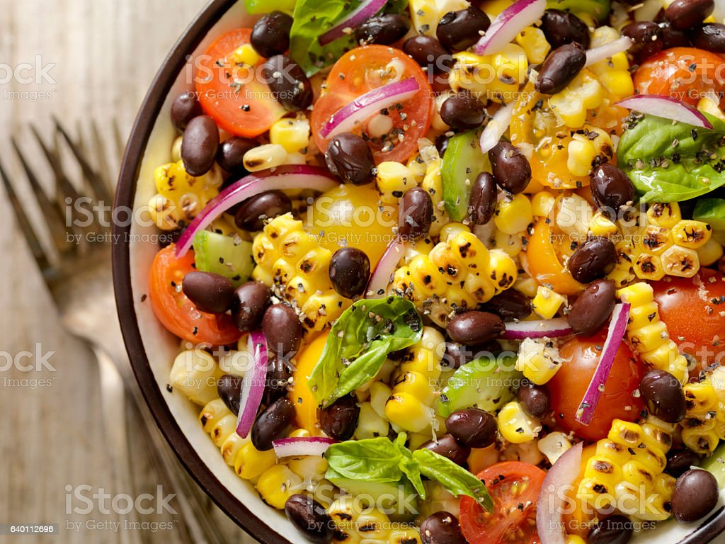 Grilled Corn and Black Bean Salad stock photo