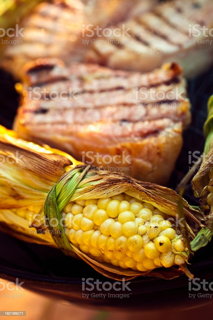 Grilled Corn and Pork. royalty-free stock photo