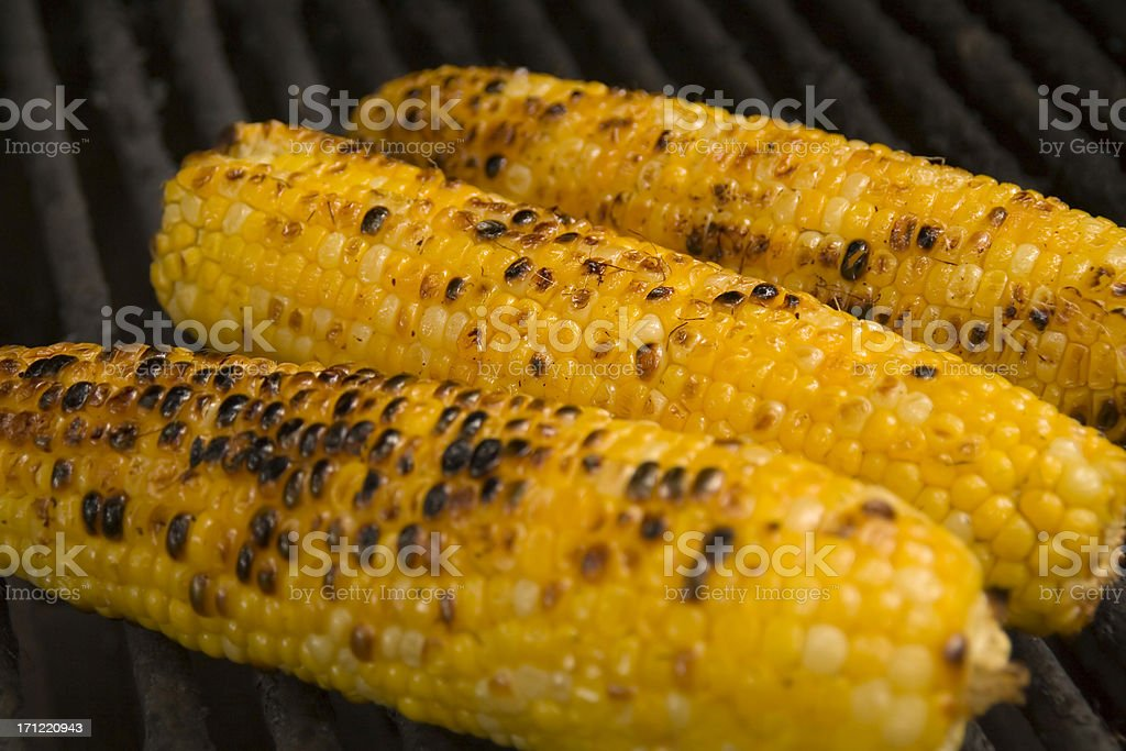 Grilled Corn on Cob on Barbecue Grill, Summer Vegetable Grilling royalty-free stock photo