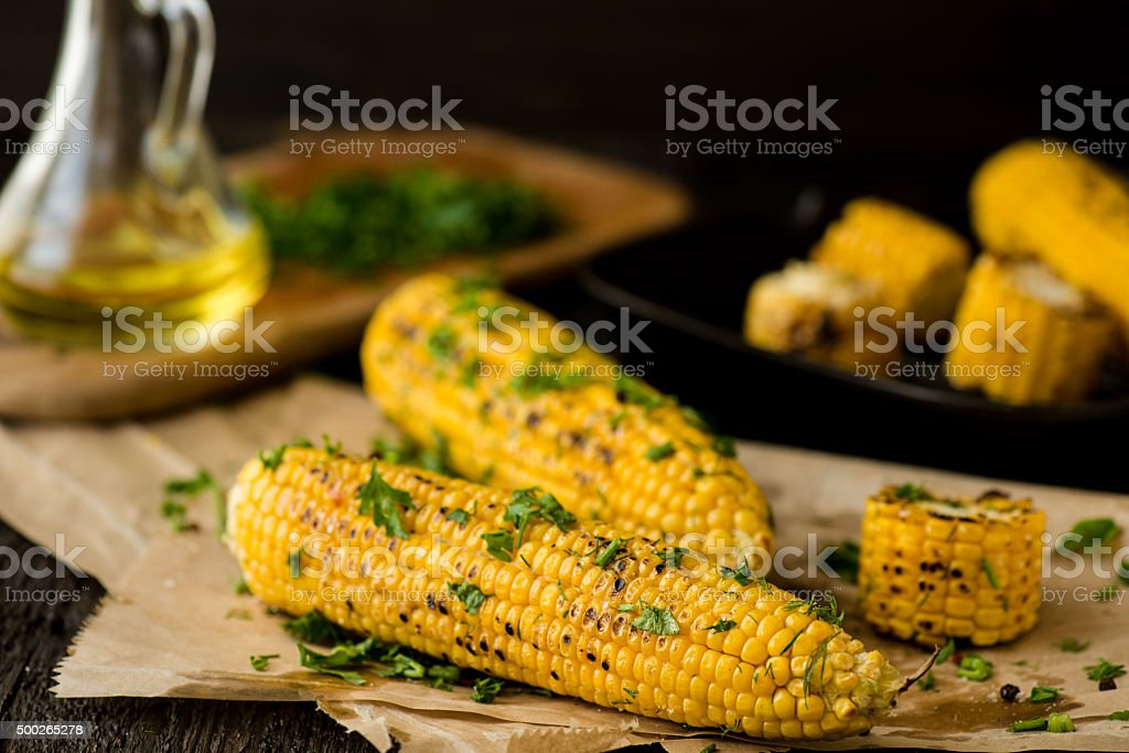 Grilled Corn on the cob with Chili, Cilantro, and Lime stock photo
