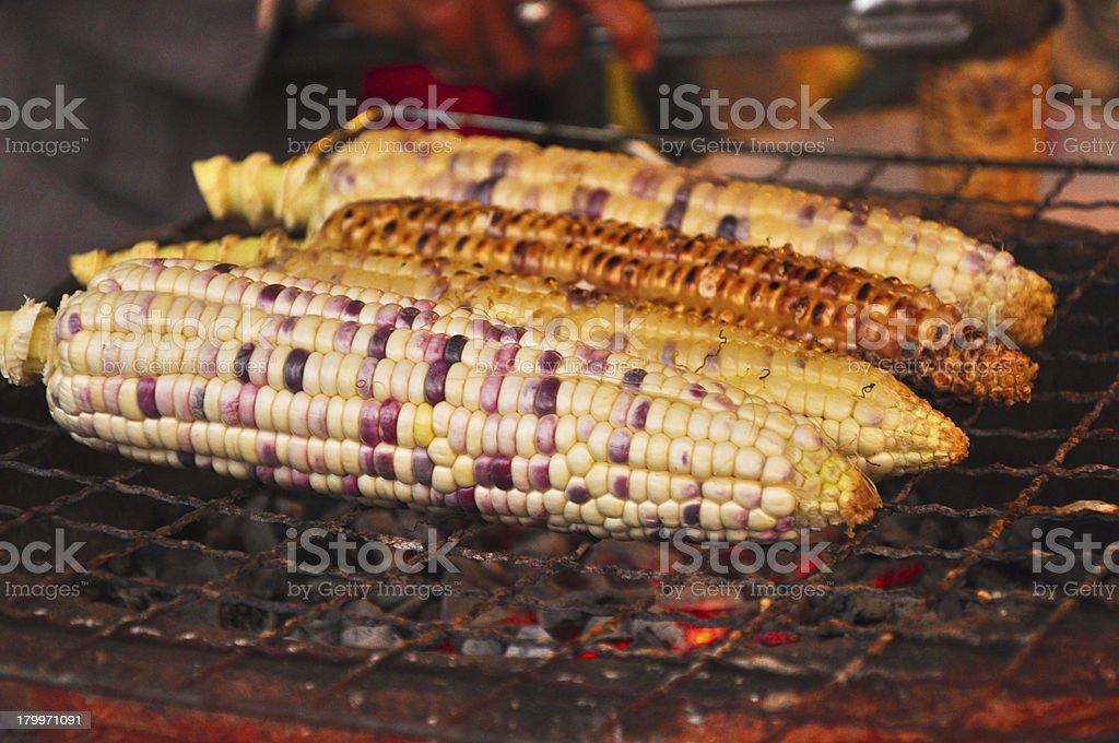 Grilled corns (Thai's dessert) in Ayutthaya, Thailand stock photo