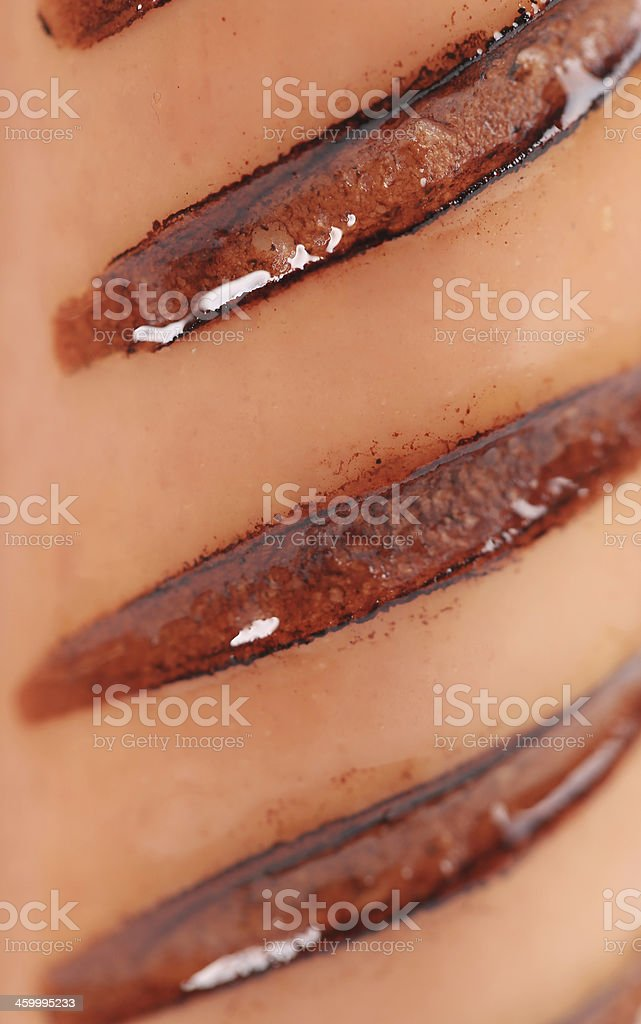 Grilled cut sausages close up. stock photo