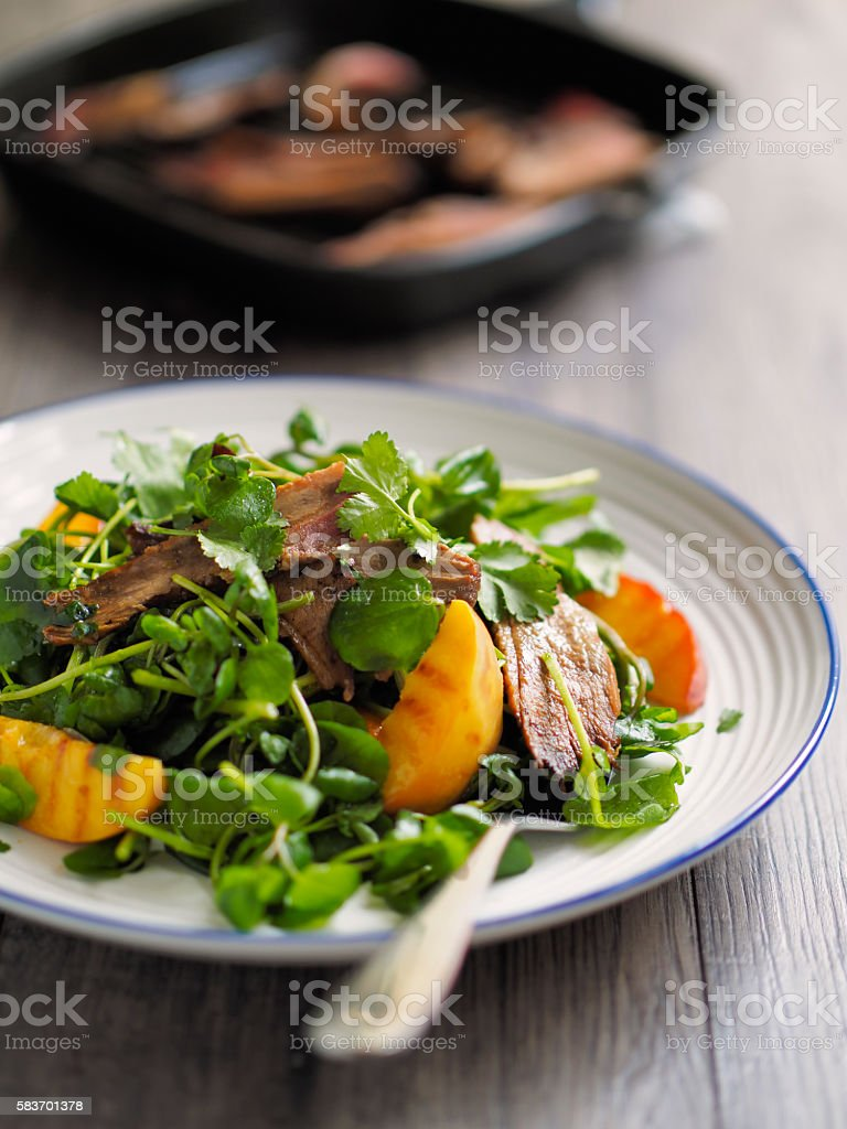 grilled duck salad stock photo