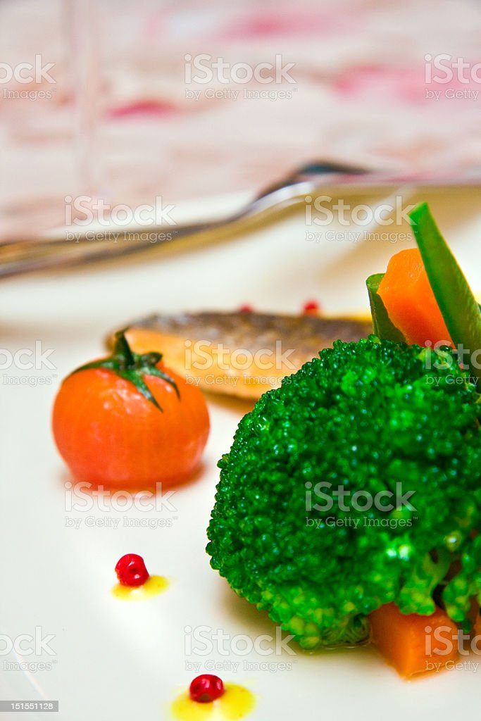 grilled filet sea bass with vegetables royalty-free stock photo